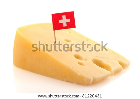 Piece of Swiss cheese with flag in cube shape