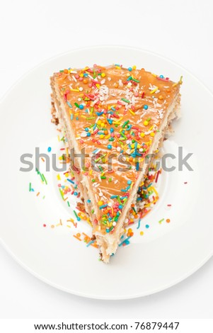 Piece of tasty cake isolated
