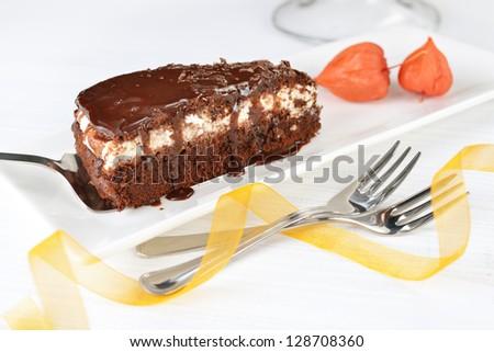 Piece of tasty chocolate cake with black chocolate sauce
