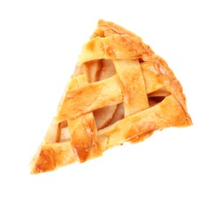 Piece of tasty homemade apple pie on white background