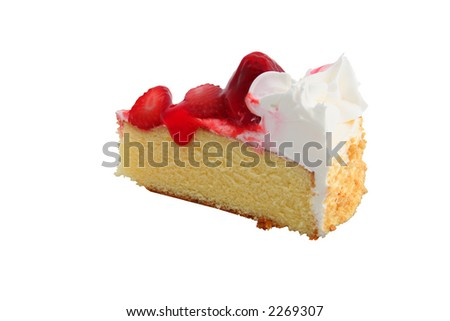 piece of tasty strawberry cake isolated on a white background - stock photo