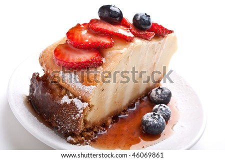 piece of tasty vanilla cheesecake with berries
