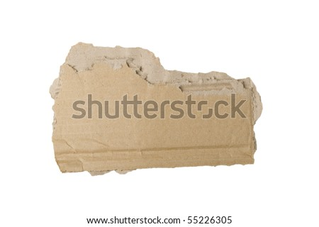 Piece of torn brown cardboard on white background