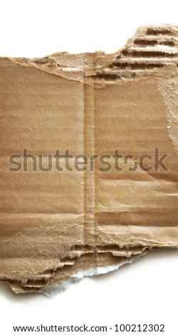 Piece of torn corrugated cardboard on white background.