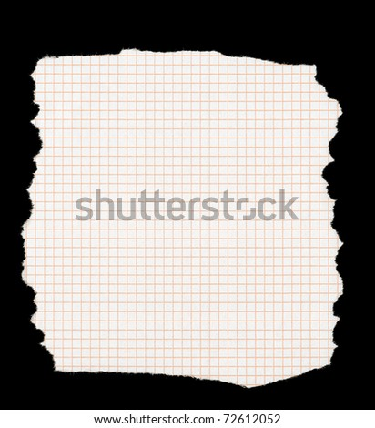 piece of torn squared paper isolated on deep black background, all edges are very frayed