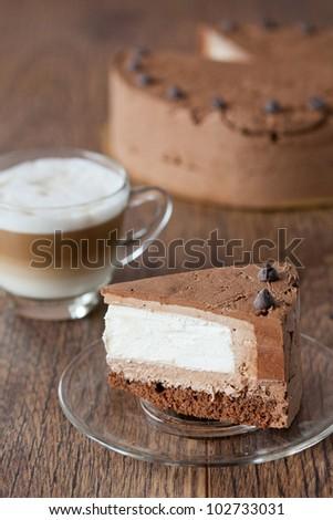 Piece of triple chocolate cake