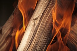 Piece of wood burning in fire lit by sunlight placed diagonally