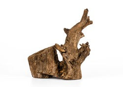 Piece of wood on white background, Old wood, Wood for home and garden decoration.