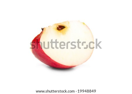 Piece red apple on white background. Isolated.