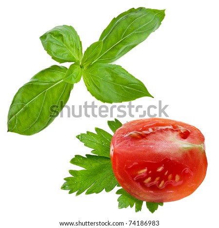 piece tomato and herb basil , parsley , isolated on white