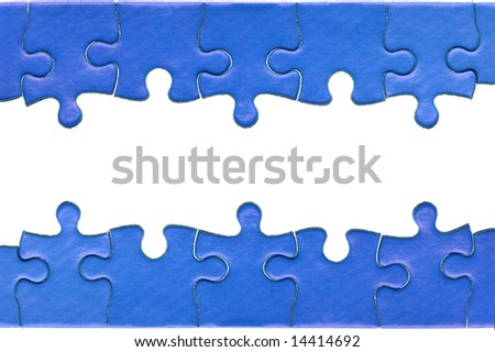 Pieces from a genuine blue jigsaw puzzle arranged to form a page header and footer, isolated on a white background.