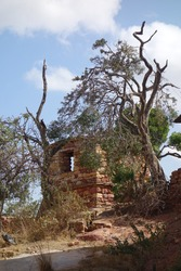 Pieces of a cristian church in lalibela. Red stone made inside the mountain