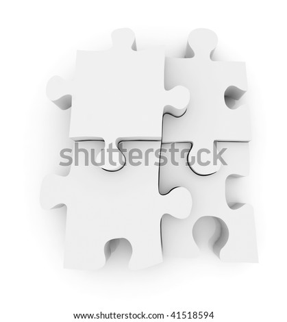Pieces of a jigsaw puzzle isolated over a white background