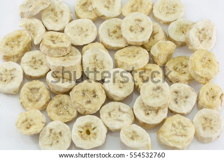 Pieces of banana with freeze dry process #554532760