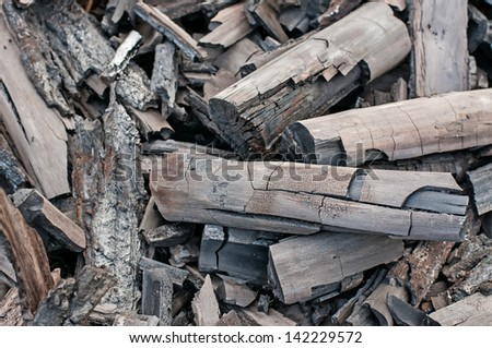 Pieces of black charcoal
