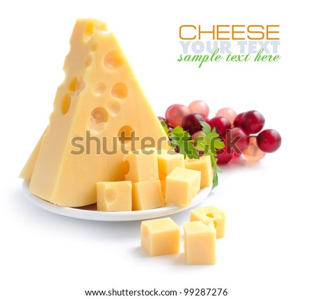 Pieces of cheese on a dish isolated on a white background