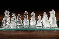 Pieces of chess on a chess board. Rook, knight, bishop, queen and King