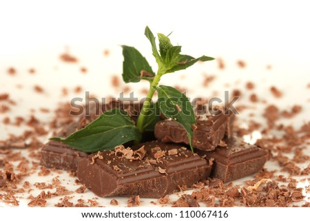 Pieces of chocolate and mint on the plate on white background close-up