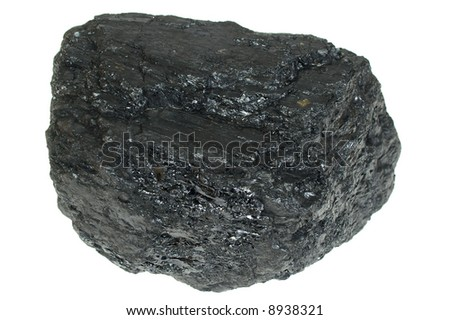 Pieces of coal  isolated on white background