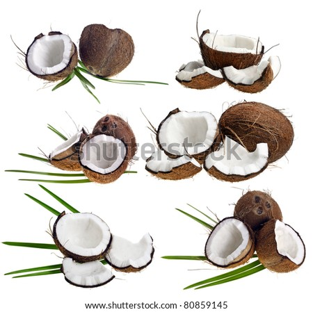 Pieces of cracked coconut with leaves, collection isolated on a white background