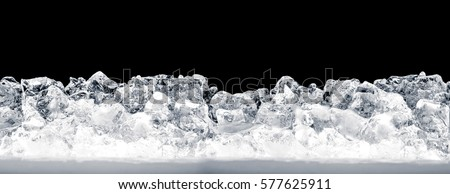 Shutterstock Pieces of crushed ice cubes on black background.