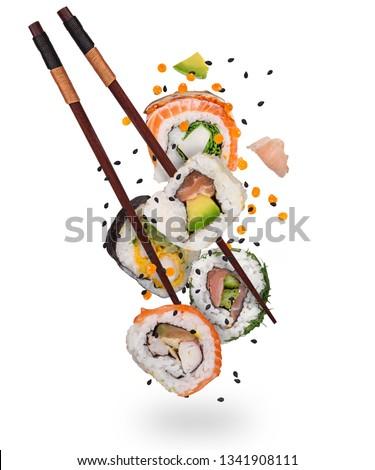 Pieces of delicious japanese sushi frozen in the air. Isolated on white background