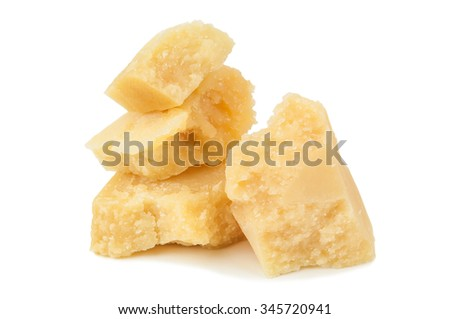 pieces of delicious parmesan on white background