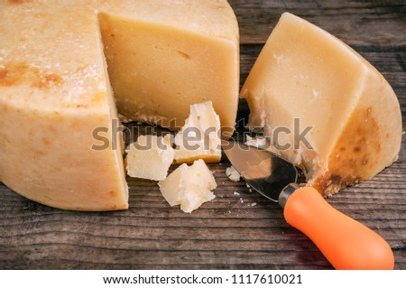 pieces of delicious pecorino (parmesan) cheese with special knife