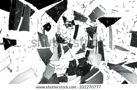 Stock Photo Pieces of destructed or Shattered glass isolated on white