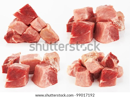 Pieces of fresh raw meat on white background
