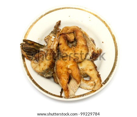 pieces of fried fish - stock photo