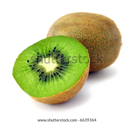 pieces of kiwi isolated on white background - stock photo