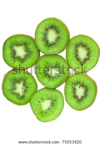 pieces of kiwi isolated on white background
