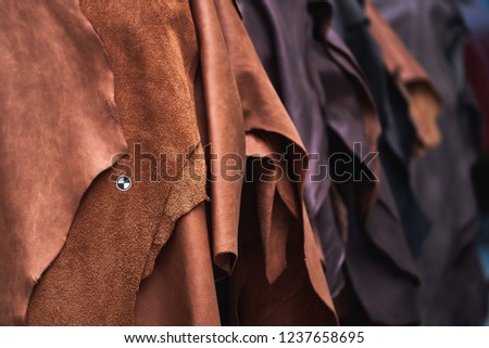 pieces of leather for the production of furniture Stock fotó ©