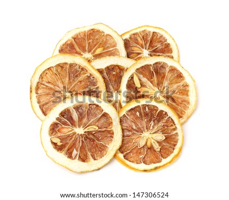 pieces of lemons on white background.