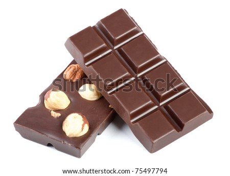 Pieces Of Milk Chocolate Bar With Nuts Isolated On White ...