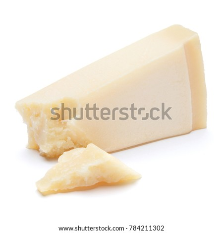 pieces of Parmesan cheese on white background