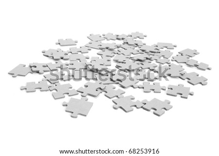 Pieces of puzzle upturned. Isolated on white