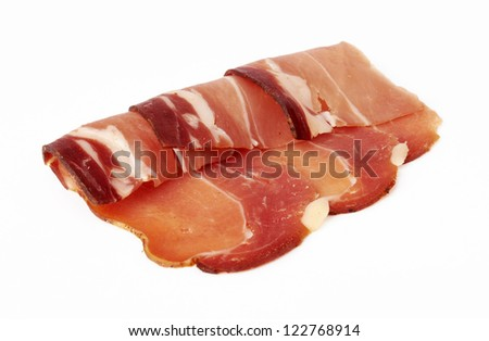 pieces of raw bacon on a white background