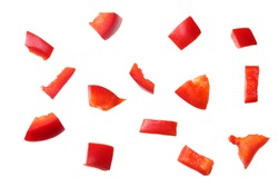 pieces of red sweet bell pepper isolated on white background. top view