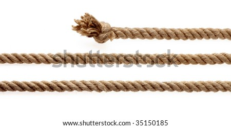 Pieces of rope with knot on a white background