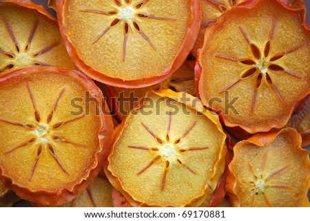 Pieces of sliced and dried persimmon