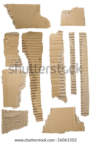 Pieces of torn brown corrugated cardboard, Isolated on White Background