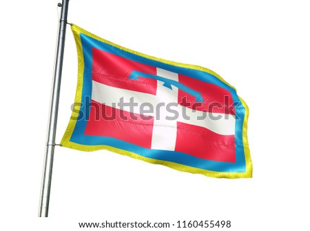 Piemonte region of Italy flag waving isolated on white background realistic 3d illustration  #1160455498