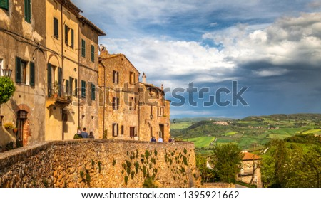 Pienza, a town in the province of Siena, in the Val d'Orcia in Tuscany, Italy, Europe. ストックフォト ©