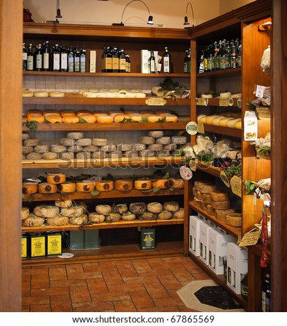 PIENZA, ITALY - OCTOBER 08: Store selling typical Tuscan culinary products like pecorino cheese, olive oil and wine on october 8, 2010 in Pienza, Italy.