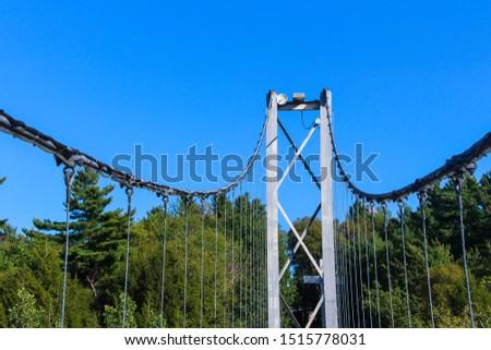 Pier and cable of suspension bridge, Gorge park, Coaticook, Quebec #1515778031