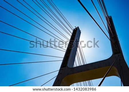 Pier and cable of suspension bridge under backlight #1432083986