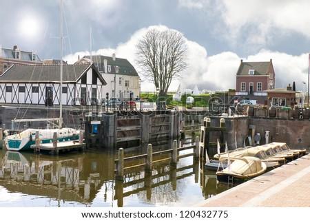 Pier and yacht in Gorinchem. Netherlands