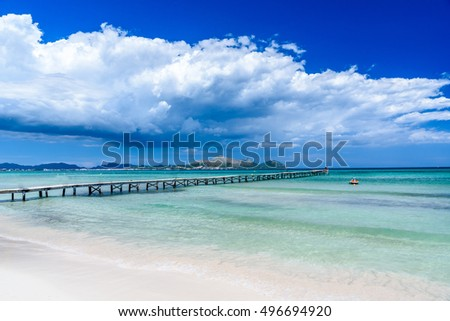 Pier at Playa Muro - Mallorca, balearic island of spain Foto d'archivio ©